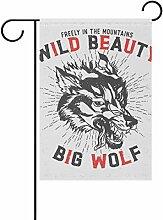 COOSUN großen Wolf Print Polyester Garten Flagge
