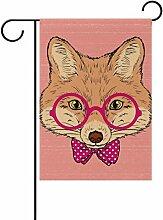 COOSUN Hand Draw Fox Polyester Garten-Flagge im