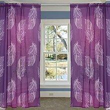 COOSUN Hand Gezeichnet Lila Federn Muster Bloßen Vorhang Panels Tüll Polyester Voile Fenster Treatment Panel Vorhänge für Schlafzimmer Wohnzimmer Inneneinrichtungen, 55x84 Zoll, 2 Panels Set 55x84x2