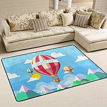 COOSUN Heiße Luftballons Teppich Rutschfest für