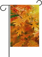 COOSUN Herbst Blätter Polyester Garten Flagge im