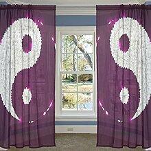 Coosun lila Blätter Yin Yang schiere Vorhang Panels Tüll Polyester Voile Fenster Behandlung Panel Vorhänge für Schlafzimmer Wohnzimmer Wohnkultur, 55 x 84 Zoll, 2 Panels Se