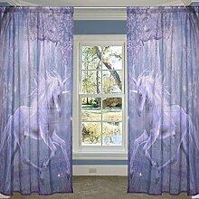 coosun lila Einhorn in the Forest Sheer Vorhang Einsätze Tüll Polyester Voile Fenster Behandlung Panel Vorhänge für Schlafzimmer Wohnzimmer Home Decor, 139,7x 198,1cm, 2Platten Set, Polyester, multi, 55x78x2(in)