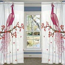 coosun lila Pfau auf die rot Blossom Baum Ast Sheer Vorhang Einsätze Tüll Polyester Voile Fenster Behandlung Panel Vorhänge für Schlafzimmer Wohnzimmer Home Decor, 139,7x 198,1cm, 2Platten Set, Polyester, multi, 55x84x2(in)
