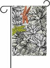 COOSUN Lilien und Libellen Polyester Garten-Flagge