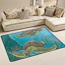 COOSUN Meeresschildkröten Teppich rutschfest für