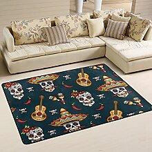coosun mexikanischen Totenkopf Muster Teppich