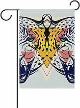 COOSUN Mode Leopard Kopf Polyester Garten Flagge