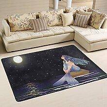 COOSUN Nacht Meerjungfrau Teppich rutschfest für