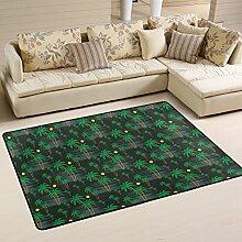 COOSUN Palm Muster Teppich rutschfest für