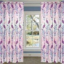 COOSUN Peacocks Muster Rosa und Lila Sheer Curtain Panels Tüll Polyester Voile Fenster Treatment Panel Vorhänge für Schlafzimmer Wohnzimmer Inneneinrichtungen, 55x78 Zoll, 2 Panels Set 55x78x2 (in)