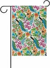 COOSUN Pfau Muster Polyester Garten Flagge im