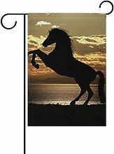 COOSUN Pferd unter Sonnenuntergang Polyester