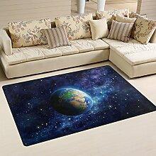 coosun Planet Erde im Weltall Bereich Teppich