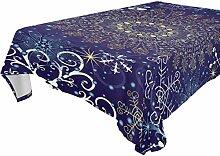 COOSUN Rechteck Gold-Blue Snow Manlada Tischdecke