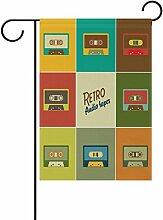 COOSUN Retro Audio Bänder Polyester Garten Flagge