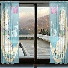 COOSUN Rosa Cartoon Fairytale Einhorn Sheer Vorhang Panels Tüll Polyester Voile Fenster Behandlung Panel Vorhänge für Schlafzimmer Wohnzimmer Wohnkultur, 55x118 Zoll, 2 Panels Se
