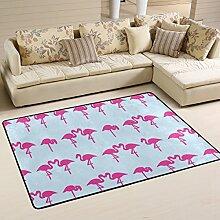 COOSUN Rosa Flamingos Teppich rutschfest für