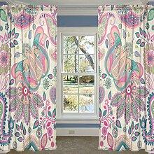 COOSUN Rosa Paisley Blumenmuster Sheer Vorhang Panels Tüll Polyester Voile Fenster Behandlung Panel Vorhänge für Schlafzimmer Wohnzimmer Wohnkultur, 55 x 78 Zoll, 2 Panels Se