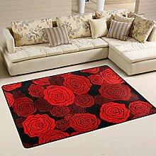 COOSUN Rote Rosenmuster Teppich Rutschfest für