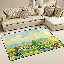 COOSUN Rural Summer Landscape With Cows Area Rug