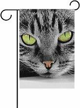 coosun S Green Eyed Cat Polyester Garten-Flagge im