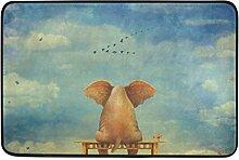 COOSUN Sad Elefant auf Bank sitzend Die Glade