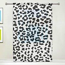 coosun schwarz und weiß Leopard Muster Sheer Vorhang Einsätze Tüll Polyester Voile Fenster Behandlung Panel Vorhänge für Schlafzimmer Wohnzimmer Home Decor, 139,7x 198,1cm, 1Stück, Polyester, multi, 55x78x1(in)