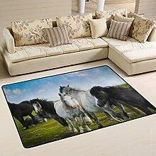 COOSUN Schwarze und weiße Pferde Teppich