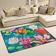 COOSUN Seerose Teppich rutschfest für Wohnzimmer
