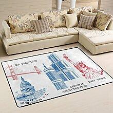 COOSUN Sehenswürdigkeiten Teppich Rutschfest für