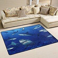 COOSUN Sharks Area Teppich Teppich Rutschfeste