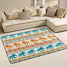 COOSUN Tier Elefant Muster Teppich Rutschfest für