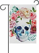 COOSUN Watercolor Skull und Rose Polyester Garten