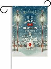 coosun Weihnachten Grußkarte Design mit Vintage Street Laterne Polyester Garten-Flagge im Flagge Home Party Garten Decor, doppelseitig, 30,5x 45,7cm, Polyester, mehrfarbig, 28x40(in)