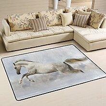 COOSUN Weißes Pferd Teppich Rutschfest für