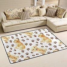 COOSUN Welpen und Fußabdrücke Teppich Rutschfest
