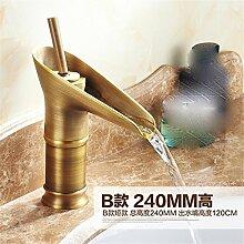 Copper-European antiken Hahn alte Glas Wasserhahn Waschtisch Armatur Waschbecken Wasserhahn, kurz