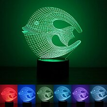 Coral Fish 3D LED Illusion Lampe, Nachtlicht,