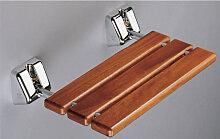 Coram proMed Serie 200 Duschsitz Holz Duschklappsitz aus Iroko-Sauna-Holz inkl. Standard-Befe- B: 489 H:  T: 330