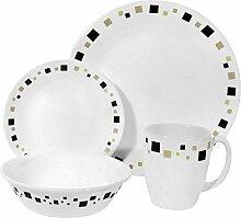 Corelle Geschirr-Set Geometric aus Vitrelle-Glas