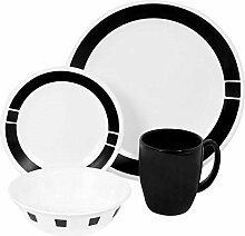 Corelle Geschirr-Set Urban Black aus Vitrelle-Glas