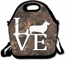 Corgi Love Portable Lunch Box Tote Bag Rugged