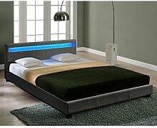 Corium® Hochwertiges LED-Bett aus Stoff 140x200cm dunkelgrau inkl. Fernbedienung