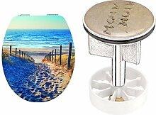 Cornat WC-Sitz Meeresbrise (MDF), Absenkautomatik, Schnellbefestigung, 1 Stück, KSDSC353 + SA1011 Waschbecken - Stöpsel Motiv MOIN MOIN