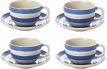 Cornishware blau und weiß gestreift Set von