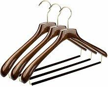 CORTEC 3 x Anzug-Kleiderbügel in hochwertiger Walnuss-Optik, mit glänzender Oberfläche, goldfarbenem Haken, samtweichem Hosensteg und extra breiten Schulterauflagen