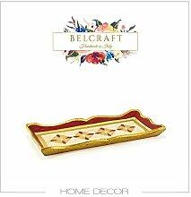 Cortona Taschenleerer aus Holz in Gold lackiert, Handgearbeitet in klassischem italienischem Stil, Ordentlich Tablett,, Geschenkschachtel inklusive (18x13 cm)