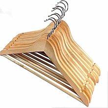 Cosanter 10 Stück Kleiderbügel aus holz mit Rockkerben und Hosensteg 360 Grad Drehbar