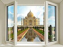 cosmetess 847Fenster Aufkleber 3D Taj Mahal PVC Vinyl Mehrfarbig